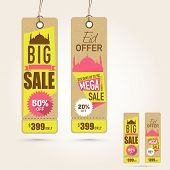 pic of eid mubarak  - Stylish hanging tags of Big Sale with discount offer on occasion of Islamic festival - JPG