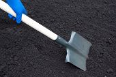 stock photo of spade  - Shovel on field digging hole with spade in field - JPG