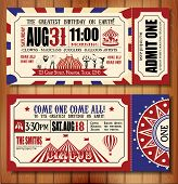 pic of circus clown  - Circus Ticket on tree background - JPG