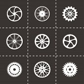 picture of train-wheel  - Vector wheel icon set on black background - JPG