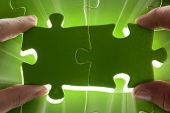 image of jigsaw  - Green jigsaw puzzle Jigsaw and puzzles concepts - JPG