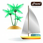 foto of moon-flower  - Exotic tropical landscape with moon night sky palm trees flowers and sea with sailboat - JPG