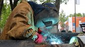 stock photo of pipe-welding  - Pipe welding on the pipeline construction - JPG