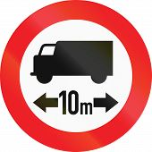 stock photo of traffic rules  - Austrian traffic sign prohibiting thoroughfare of lorries with a length over 10 meters - JPG