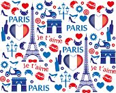 picture of moulin rouge  - Red and blue Paris illustration pattern - JPG