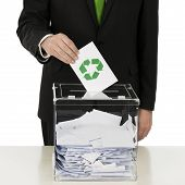 foto of voting  - Voting with recycling symbol on voting envelope - JPG