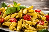 picture of pesto sauce  - Pasta with pesto sauce and vegetables - JPG