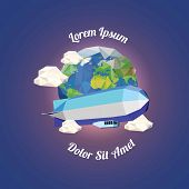 image of float-plane  - Low poly zeppelin  near earth with clouds - JPG