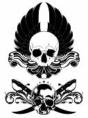 image of saber  - decorative art background with human skulls and sabers - JPG