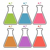 pic of toxic substance  - Set of flasks with colorful substances - JPG
