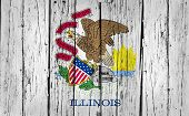 picture of illinois  - Illinois grunge wood background with Illinoisan State flag painted on aged wooden wall - JPG
