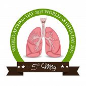 pic of asthma  - illustration for World Asthma Day with brown ribbon - JPG