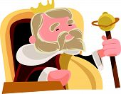 picture of wise  - Old wise king sitting royal vector illustration cartoon character - JPG