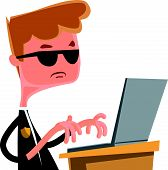 picture of lap  - Investigation agent typing at lap top vector illustration cartoon character - JPG