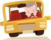 picture of grandpa  - Grandpa driving a car vector illustration cartoon character - JPG