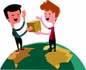 pic of post-teen  - Exchanging gifts over the world vector illustration cartoon character - JPG