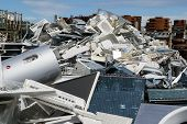 stock photo of raw materials  - materials collection center containing materials from which recycling raw materials - JPG