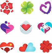 image of feelings emotions  - Beautiful feeling of love emotion heart design icon set - JPG