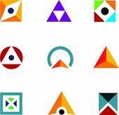 stock photo of combinations  - Geometric shape triangle circle and cube inspiring combination logo icon - JPG