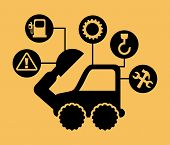 picture of excavator  - excavator cartoon over yellow background - JPG