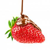stock photo of strawberry  - Strawberry in chocolate isolated on white background - JPG