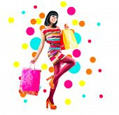 foto of shopping center  - Full length portrait of fashion girl with shopping bags isolated on white background - JPG