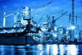 foto of shipyard  - Shipyard at work - JPG