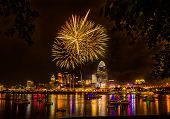 picture of firework display  - Firework on the River after a Cincinnati Reds Game - JPG