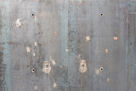 image of scrape  - Abstract gray wall texture background with holes and scrapes - JPG