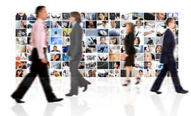 picture of sult  - Business people walking by a corporate collage  - JPG