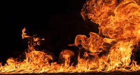 stock photo of tongue  - Fire flames on black background background - JPG