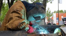 image of pipe-welding  - Pipe welding on the pipeline construction - JPG