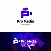 Vector low poly camera logo. Media business P letter logotype with geometric background poster