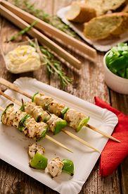foto of souvlaki  - Concept of barbecue picnic food - JPG