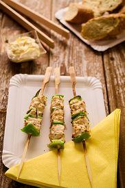 stock photo of souvlaki  - Concept of barbecue picnic food - JPG