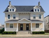 stock photo of duplex  - Typical duplex house in Midwest that - JPG