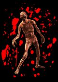 picture of festering  - A horrible walking zombie with added blood - JPG