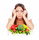 Sad Woman With Vegetables