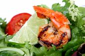 Barbequed Prawn Salad With Shrimp Lettuce And Green Lime