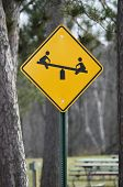 Caution Children At Play Teeter Totter Sign