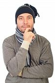 Man With Knit Cap Thinking