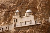 foto of jericho  - Part of the monastery set high up in the mountains of Jericho - JPG