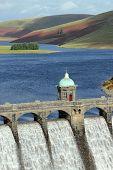 Craig Goch Reservoir Dam Close Up, Elan Valley, Wales.
