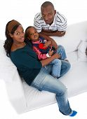 Young Black Family At Home
