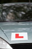 L Plate learner driver sign on car bonnet