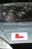 L Plate learner driver sign on car bonnet