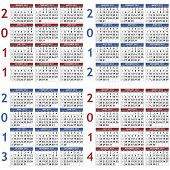 Four calendar templates for 2011 -2014