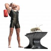 stock photo of termite  - Muscle Man with a mallet behind his back about to smash a termite on an anvil - JPG