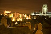 durham castle and durham cathedral at night