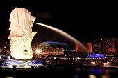 Singapore Merlion side view at Marina bay